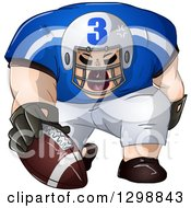 Clipart Of A Buff White Male American Football Player Shouting And Holding The Ball Royalty Free Vector Illustration by Liron Peer