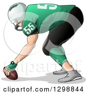 Clipart Of A White Male American Football Player Facing Left And Holding The Ball Royalty Free Vector Illustration