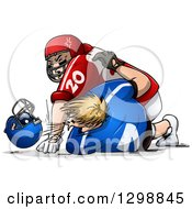 Clipart Of White Male American Football Players Fighting And Punching Royalty Free Vector Illustration by Liron Peer