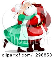 Clipart Of A Sweet Mrs Claus Kissing Santa On The Cheek On Christmas Eve Royalty Free Vector Illustration