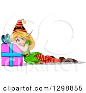 Clipart Of A Blue Eyed Blond White Female Christmas Elf Resting And Leaning On A Present Royalty Free Vector Illustration