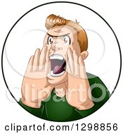 Mad Blond White Man Shouting In A Circle