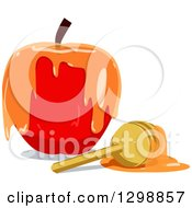 Clipart Of A Red Apple Dripping With Honey And A Dipper Royalty Free Vector Illustration