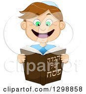 Cartoon Happy Brunette White Boy Reading From Haggadah Of Passover