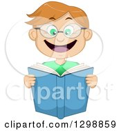 Clipart Of A Cartoon Excited Dirty Blond White Boy Wearing Glasses And Reading A Book Royalty Free Vector Illustration