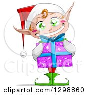 Clipart Of A Green Eyed White Grinning Male Christmas Elf Holding A Gift Royalty Free Vector Illustration