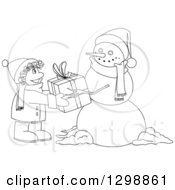 Clipart Of A Lineart Black And White Christmas Snowman Giving A Gift To A Boy Royalty Free Vector Illustration by Liron Peer