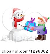 Clipart Of A Christmas Snowman Giving A Gift To A Red Haired Caucasian Boy Royalty Free Vector Illustration