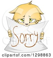 Clipart Of A Cute Apologetic Kitten Holding Up A Sorry Sign Royalty Free Vector Illustration