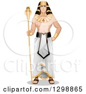 Clipart Of A Muscular Ancient Egyptian Pharaoh Standing With A Scepter Royalty Free Vector Illustration by Liron Peer