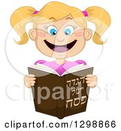 Clipart Of A Cartoon Happy Blond White Girl Reading From Haggadah Of Passover Royalty Free Vector Illustration by Liron Peer