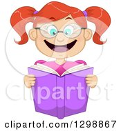 Clipart Of A Cartoon Excited Red Haired White Girl Wearing Glasses And Reading A Book Royalty Free Vector Illustration by Liron Peer
