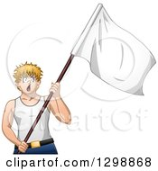 Blond White Man Shouting And Surrendering With A White Flag
