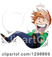 Cartoon Young White Man Rolling On The Floor And Laughing