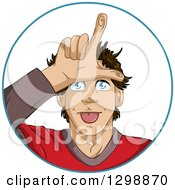 Cartoon Young White Man Gesturing Loser With His Hand Over His Forehead Inside A Circle