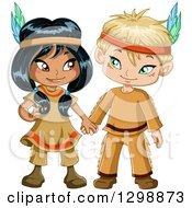 Clipart Of A Cute Native American Indian Boy And Girl Holding Hands Royalty Free Vector Illustration by Liron Peer