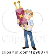 Clipart Of A Happy Young Jewish Boy Holding A Torah For Bar Mitzvah Royalty Free Vector Illustration by Liron Peer