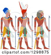 Clipart Of A Line Of Ancient Egypt Pharaohs Royalty Free Vector Illustration