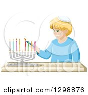 Happy Blond Jewish Boy Lighting Colorful Hanukkiah Candles