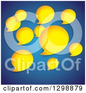 Clipart Of Yellow Speech Bubbles On Blue Royalty Free Vector Illustration