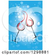 Clipart Of A Clinking Cocktail Or Wine Glasses Over Blue Sparkles Royalty Free Vector Illustration by ColorMagic