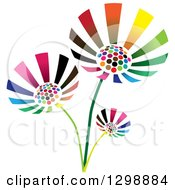 Clipart Of Three Vibrant Colorful Flowers Royalty Free Vector Illustration by ColorMagic