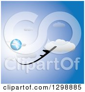 Clipart Of A Commercial Airplane Flying Away From Blue Planet Earth In A Blue Cloudy Sky Royalty Free Vector Illustration by ColorMagic