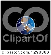 Clipart Of Commercial Airplanes Circling Planet Earth With A Shadow On Black Royalty Free Vector Illustration by ColorMagic