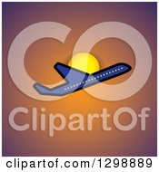 Clipart Of A Blue Commercial Airplane And Sun Over Orange Royalty Free Vector Illustration by ColorMagic