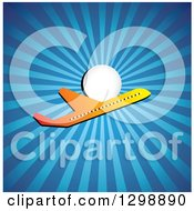 Clipart Of A Gradient Commercial Airplane And Sun With Blue Rays Royalty Free Vector Illustration by ColorMagic