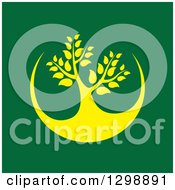 Clipart Of A Yellow Tree And Circle Design On Green Royalty Free Vector Illustration by ColorMagic