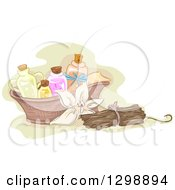 Vanilla Flower With Sticks And Basket Of Essential Oils