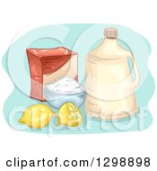 Clipart Of A Bottle Of Vinegar With Baking Soda And Lemons Royalty Free Vector Illustration by BNP Design Studio