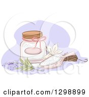 Clipart Of A Jar And Scoop Of Bath Salts With Vanill And Lavender Royalty Free Vector Illustration