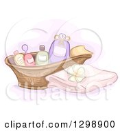 Clipart Of A Basket Of Spa Massage Oils By A Towel And Frangipani Flower Royalty Free Vector Illustration by BNP Design Studio