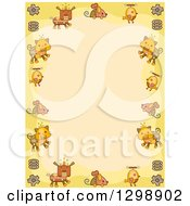Clipart Of A Steampunk Border Of Dog Mouse Bird And Cat Robots With Gears And Springs Over Yellow Royalty Free Vector Illustration