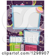 Clipart Of Floating Billboards And Ufos In Outer Space Royalty Free Vector Illustration