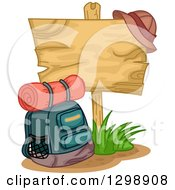 Clipart Of A Camping Backpack By A Blank Wooden Sign With A Hat Royalty Free Vector Illustration by BNP Design Studio
