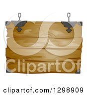 Clipart Of A Hanging Rustic Wooden Sign Royalty Free Vector Illustration by BNP Design Studio