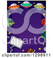 Clipart Of A Border Of Ufo Flying Saucers Planets Stars And A Sign On Purple Royalty Free Vector Illustration