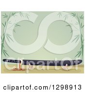 Clipart Of A Japanese Sword On A Stand Over Green With Bamboo Royalty Free Vector Illustration