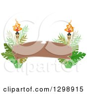 Clipart Of A Blank Wood Arch Banner With Tiki Torches And Jungle Leaves Royalty Free Vector Illustration