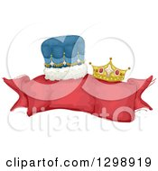Clipart Of A Blank Red Ribbon Banner With King And Queen Crowns Royalty Free Vector Illustration