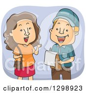 Clipart Of A Brunette White Woman Answering Survey Questions Royalty Free Vector Illustration