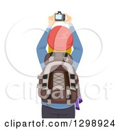 Clipart Of A Rear View Of A Blond White Woman Taking Pictures With Her Camera While Hiking Royalty Free Vector Illustration