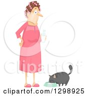 Clipart Of A White Granny With Curlers And A Pink Nightgown Giving Her Cat Milk Royalty Free Vector Illustration