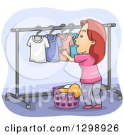 Clipart Of A Cartoon Red Haired White Woman Hanging Laundry On A Drying Rack Royalty Free Vector Illustration