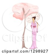 Clipart Of A Sketched Asian Woman In A Kimono Strolling With A Parasol By A Cherry Blossom Tree Royalty Free Vector Illustration