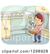 Clipart Of A Cartoon Red Haired White Woman Moving Into A Dorm Royalty Free Vector Illustration by BNP Design Studio