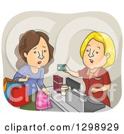 Clipart Of A Cartoon Caucasian White Woman On A Shopping Spree Having A Declined Order Royalty Free Vector Illustration